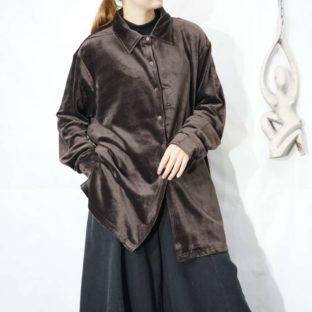 glossy brown velours shirt *