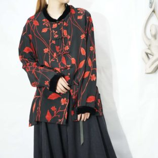 black × red flower pattern velours piping CHINA shirt *