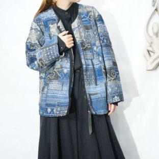 blue base elegant pattern fullzip woven jacket *