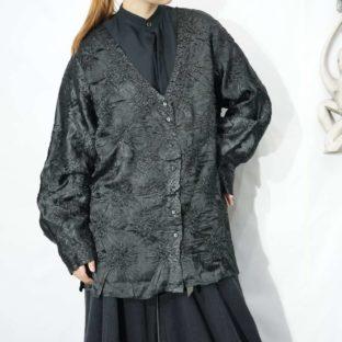 glossy black shrink drape shirt jacket *