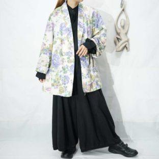 white base purple flower pattern easy jacket *