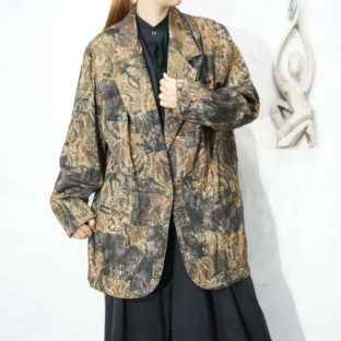 glossy gold relief gorgeous pattern easy jacket *