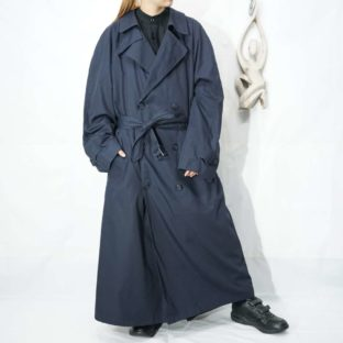 oversized black navy maxi long trench coat with lining *