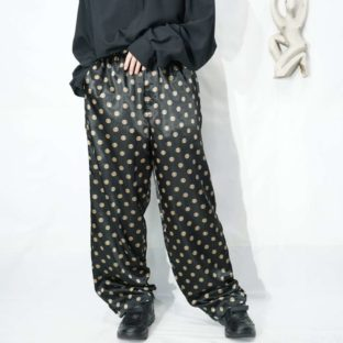glossy black × gold CHINA pattern easy pants