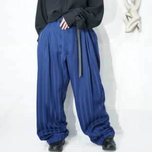 monster oversized blue glossy stripe 3tuck wide slacks