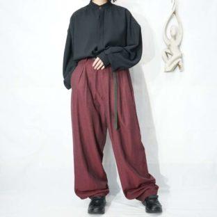 glossy burgundy drape 3tuck slacks *