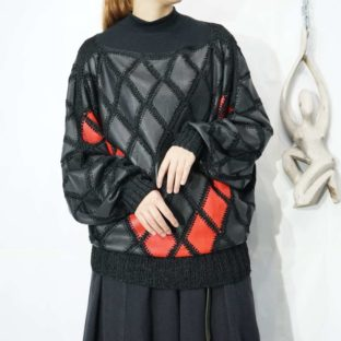black × red leather knit pullover *
