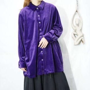 deep purple color glossy velours shirt *