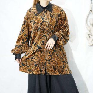 botanical pattern collar & cuffs satin switching velours shirt *