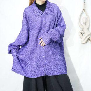 oversized glossy lavender purple shrink shirt *