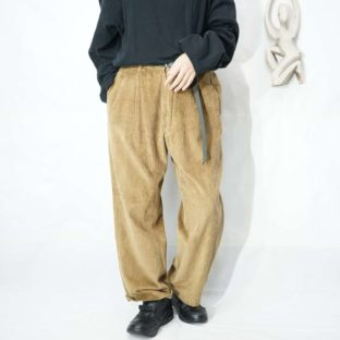 camel brown wide wale 2tuck corduroy pants *