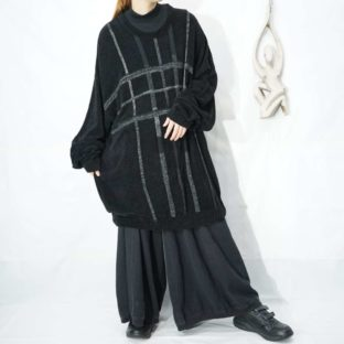 oversized over check pattern pile knit *