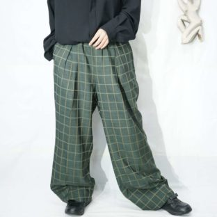 glossy dark green deep tuck wide easy slacks *