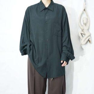 oversized mode black drape silk like shirt *