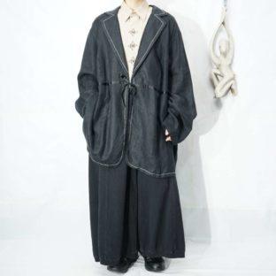 oversized glossy black ribbon design easy haori jacket *
