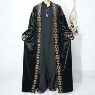 black velours embroidery design maxi long haori *