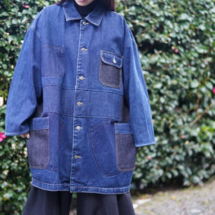 oversized denim patchwork remake coat *