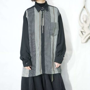 monotone stripe flyfront embroidery sheer shirt *