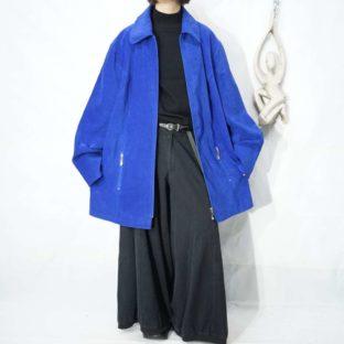 deep blue zip design fakesuede shirt jacket