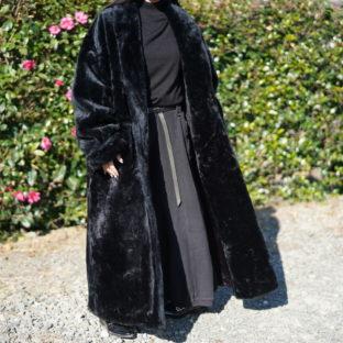 mode black fur long haori coat *