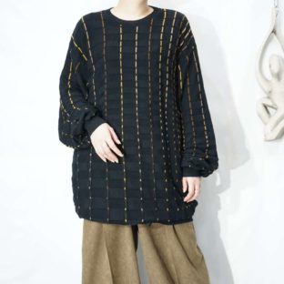 like yellow gradation solid check black knit *