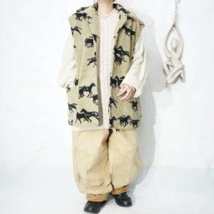 oversized animal pattern fleece vest *