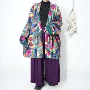 flower art pattern shawl collar haori *