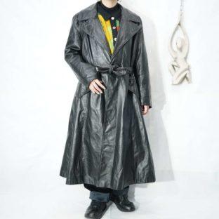 black leather western pocket coat *