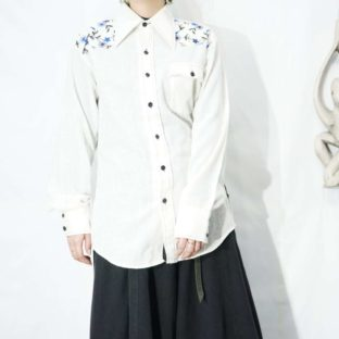 old blue flower embroidery western shirt