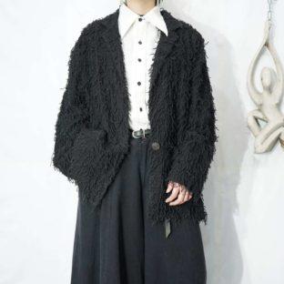 mode black shaggy easy jacket *