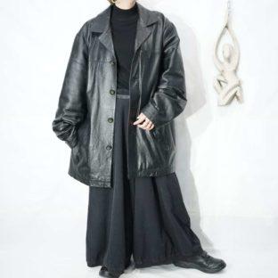 oversized black leather jacket *