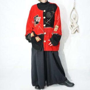 black × red rakugaki art embroidery design jacket *