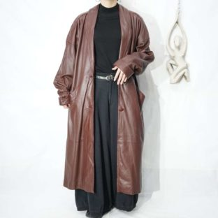 chocolate brown leather long coat *