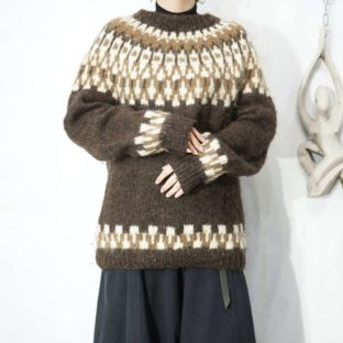 brown base nordic hand knit *