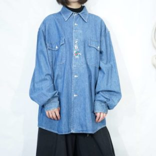 front embroidery denim Tyrolean shirt *