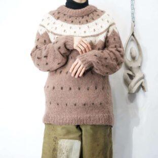 chocolate brown mokomoko Nordic knit *