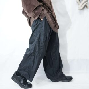 【RalphLauren】black nylon cropped wide cargo pants *