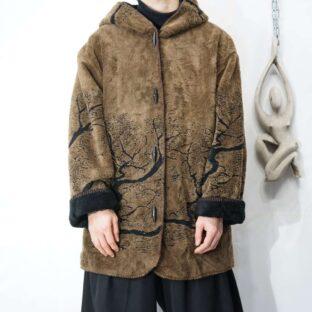 brown × black solid design fleece jacket *