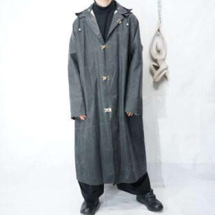 oversized black rubber fireman motif coat *