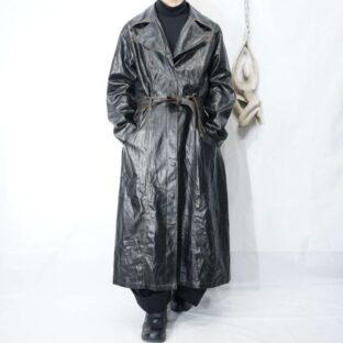 brown stitch design faux leather coat *