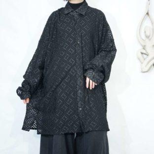 oversized geometric pattern see-through shirt *