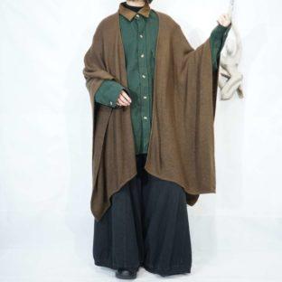 brown alpaca wool drape poncho cape *