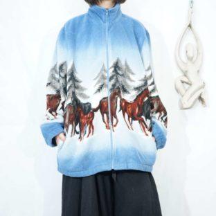 gradation blue animal horse pattern fleece jacket *