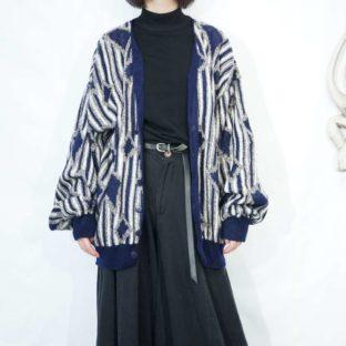 stripe baes geometric pattern knit cardigan