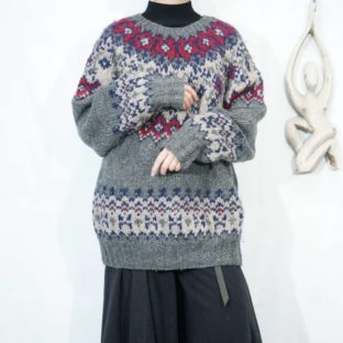 gray base Nordic hand knit *