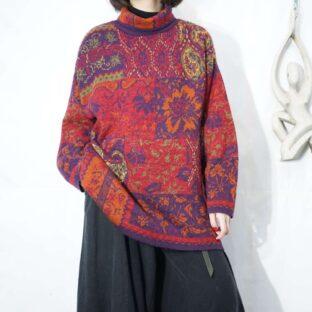 Persia pattern turtle neck knit *