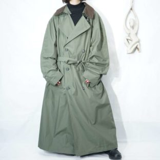 oversized moss green leather collar wide maxi long trench coat *