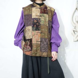 panel switching patchwork China vest *