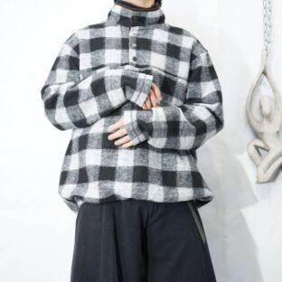 monotone block check mokomoko snap T pullover *