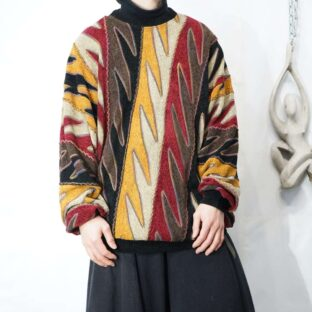 oversized chaos color zigzag pattern pile knit *